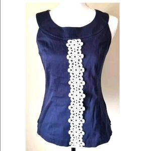 Lilly Pulitzer Navy Embroided Sleeveless Top